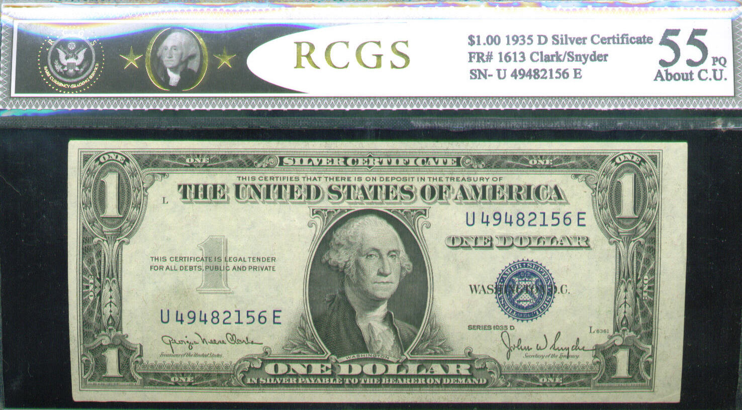Acc certified currency notes 1935 about cu 55 pq 100 bill rcgs silver certificate xflitez Gallery