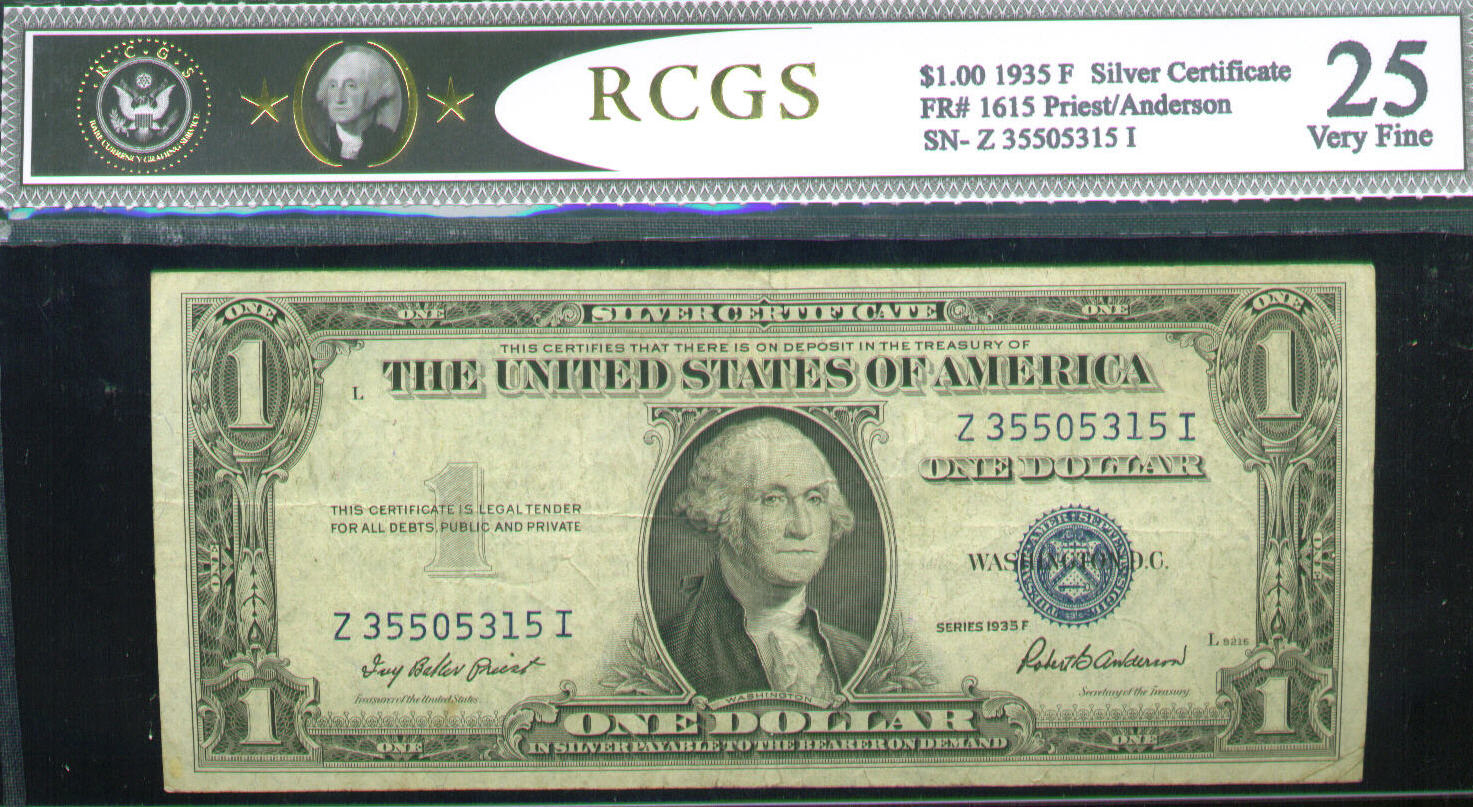 Acc certified currency notes 1935 very fine 25 100 bill rcgs silver certificate xflitez Choice Image