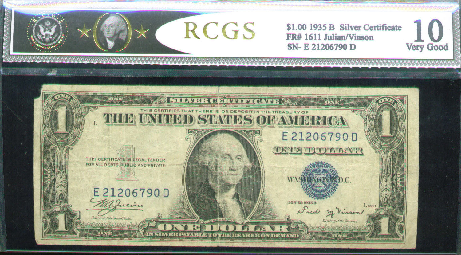 Acc certified currency notes 1935 very good 10 100 bill rcgs silver certificate xflitez Images