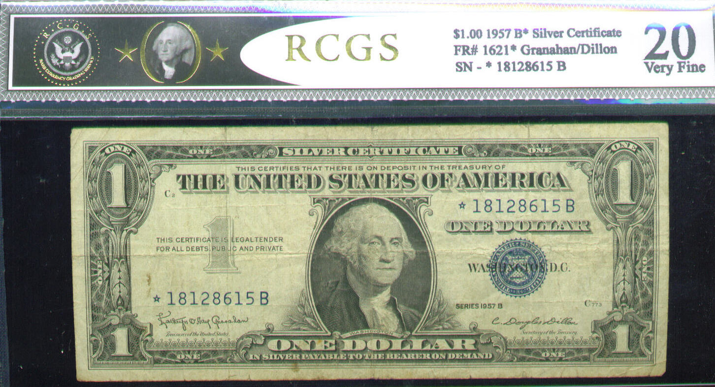 Acc certified currency notes 1957 very fine 20 100 bill star note rcgs silver certificate xflitez Images