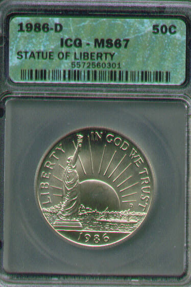 1986 Liberty Half Dollar Proof Statue of Liberty COIN ONLY Commemorative SOL 50c