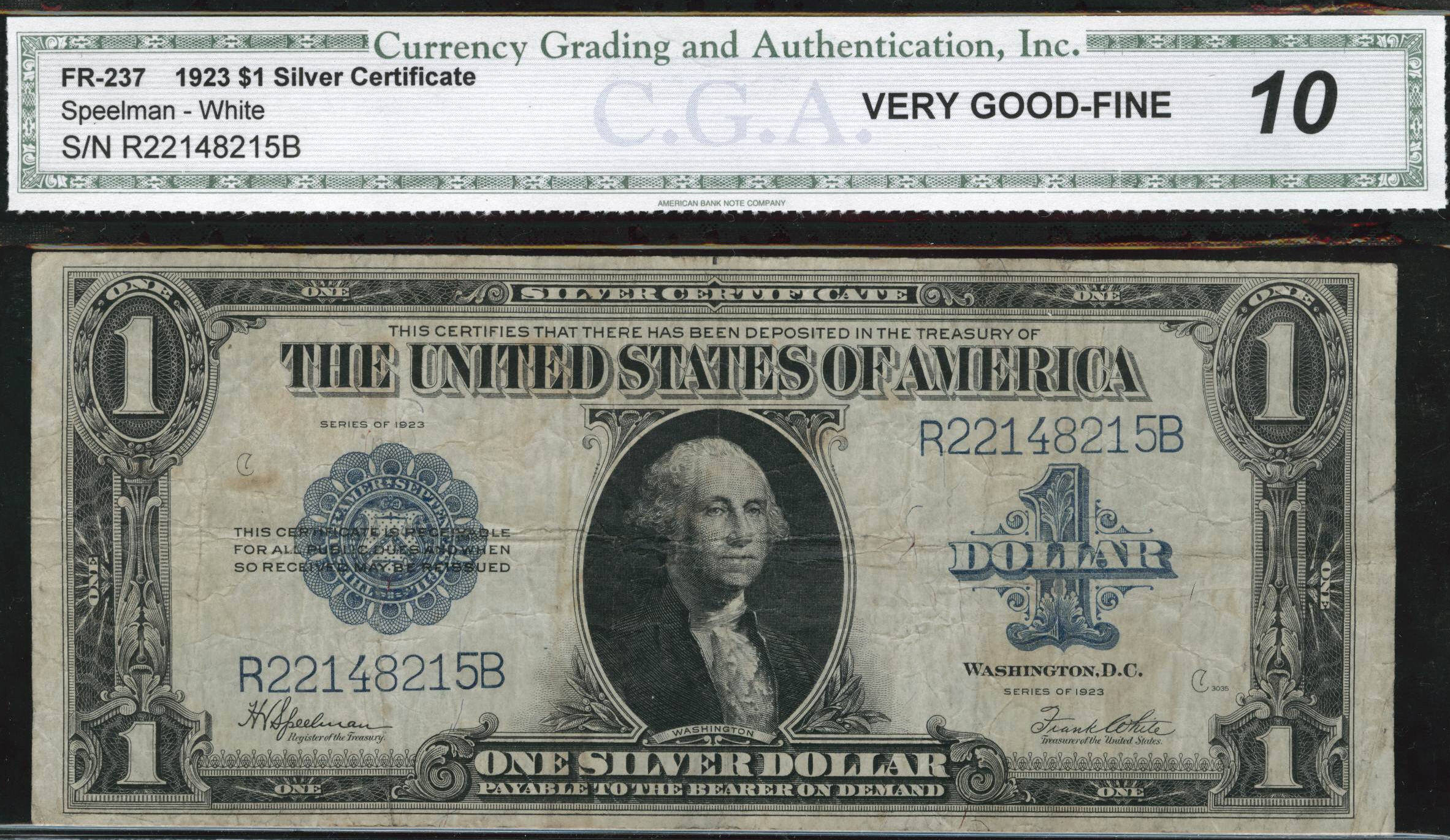 Acc certified currency notes 1923 very good 08 100 bill cga silver certificate xflitez Choice Image