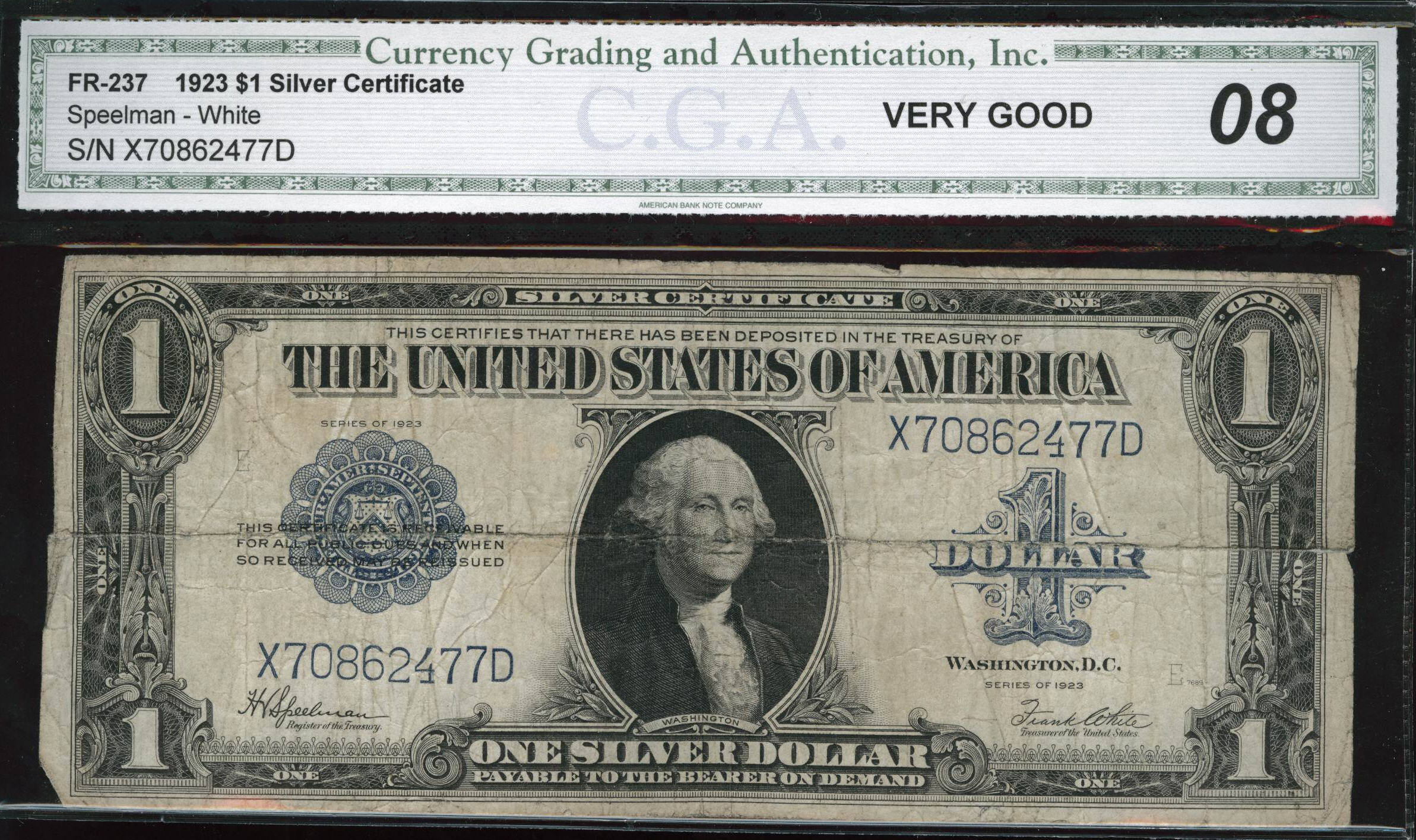 Acc certified currency notes 1923 very good 08 100 bill cga silver certificate 1betcityfo Images