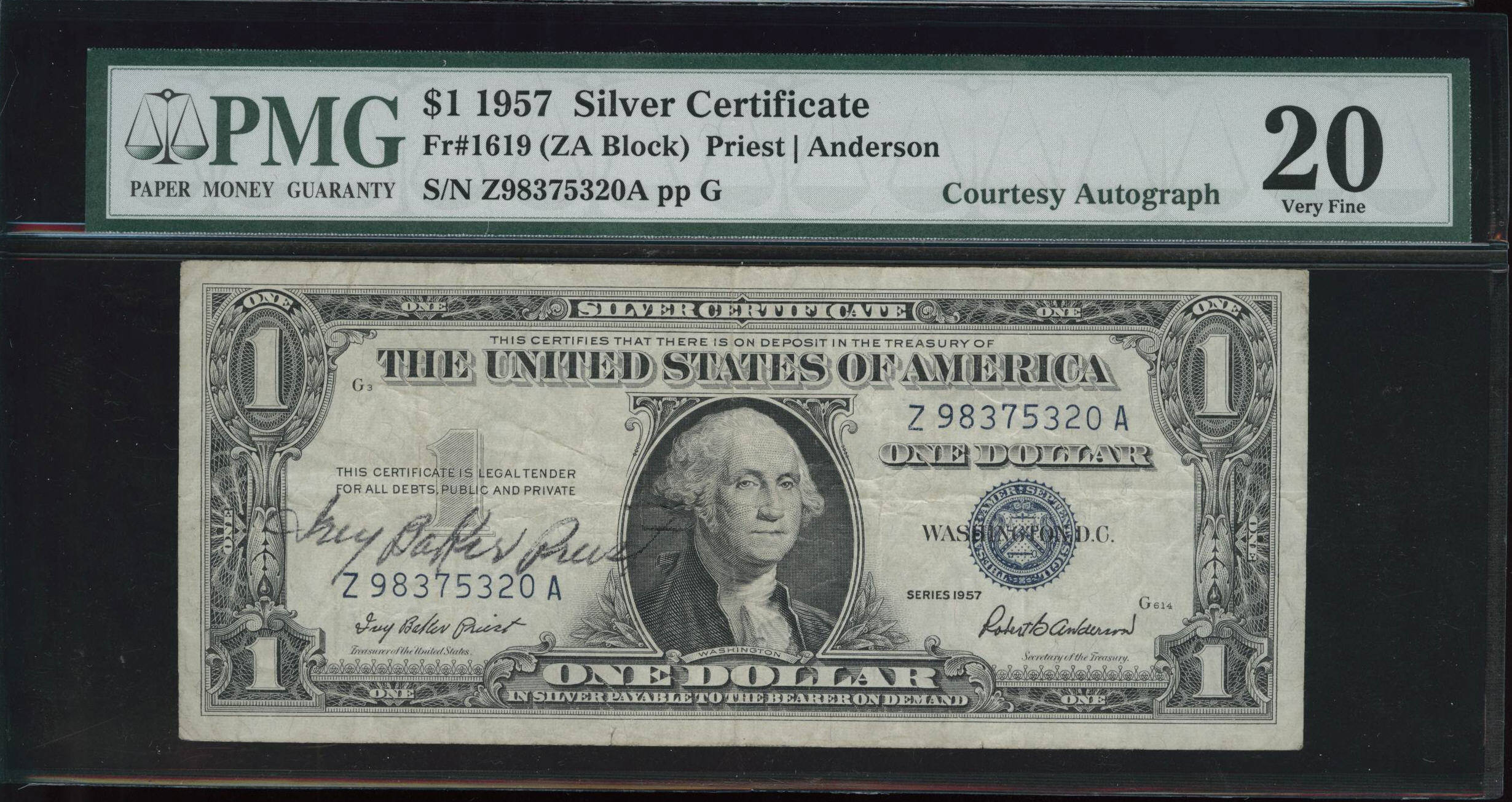 Acc certified currency notes 1957 very fine 20 100 note silver certificate cga autographed xflitez Images