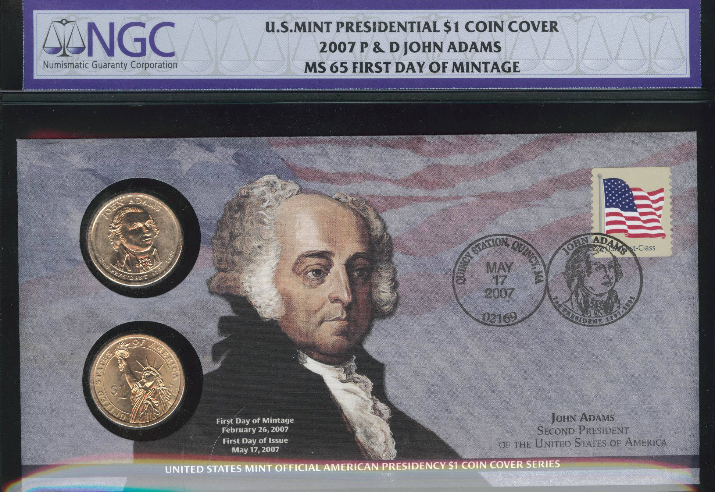 2008 P /& D US Mint Presidential JOHN QUINCY ADAMS First Day of Mintage NGC MS 65