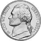 Here is a nice picture of the Jefferson nickel obverse. The obverse on the nickel has staed the same for 66 years.