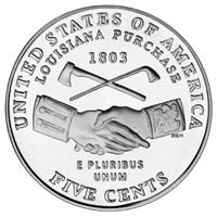 THe new reverse on the 2004-dated Jefferson nickel will feature a rendition of the reverse of the original Indian Peace Medal commissioned for Lewis and Clark's expedition, and symbols of peace and friendship on the other.