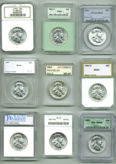 Here is a picture of a 1963 Franklin half graded by PCGS, NGC, ICG, ANACS, PCI, NTC, ACG, TRUGRADE and SEGS. All nine certification companies graded it Mint State 65.