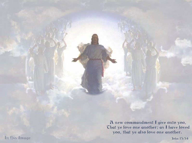 Free Religious Wallpaper Jesus In Beautiful White Clouds With Angels And The Sun